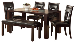 Homelegance Lee 6-Piece Dining Room Set with Crackle Glass Insert in Espresso