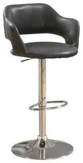Monarch Specialties 2441 Hydraulic Barstool in Charcoal Gray with Chrome Metal