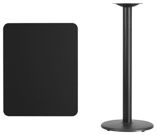 "24""x30"" Rectangular Black Laminate Table Top With 18"" Round Bar Base"