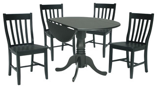 International Concepts 3 Piece Schoolhouse Dining Set in Black