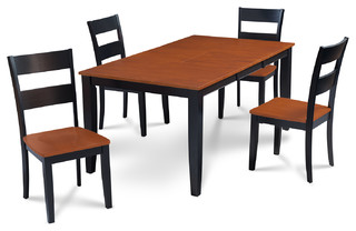 """Sunderland Table 7 Piece Dining Set 18"""" Butterfly Leaf Black and Cherry"""