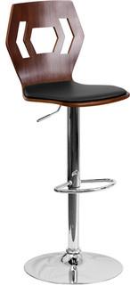 Walnut Bentwood Adjustable Height Bar Stool Black Vinyl Seat and Cutout Back