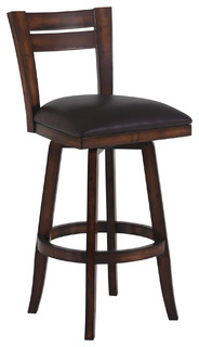 Bristol Swivel Wood Bar Stool Brown With Pecan Wood Counter Height