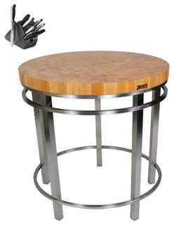 John Boos MET-OA32 32in. round Kitchen table Henckels 13pc Henkels Knife Set