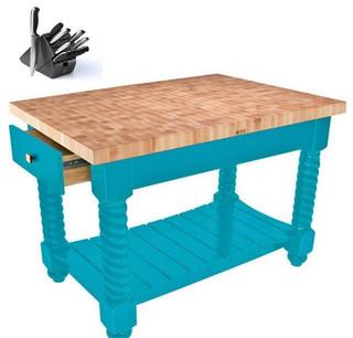 John Boos TUSI5432225EG 54x32 maple table Henckels 13pc Knife Set