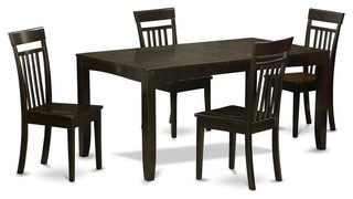 5-Piece Rectangular Kitchen Set With Wooden Chair Seat