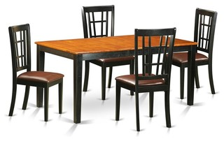 5-Piece Butterfly Leaf Upholstered Dining Table Set