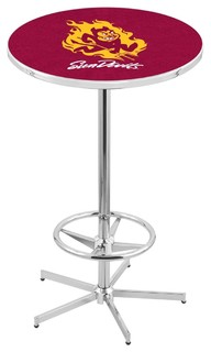 "42"" Chrome Arizona State Pub Table with Sparky Logo by Holland Bar Stool Co."