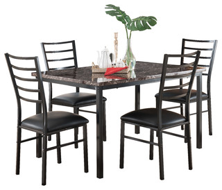 Maxen 5-Piece Square Metal and Marble Dining Set
