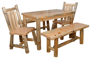 Pine Log Live Edge Slab Top 5' Dining Table With Chairs and Benches 5-Piece Set