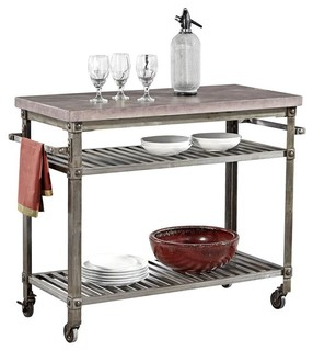 Kitchen Cart with Wine Finish Top