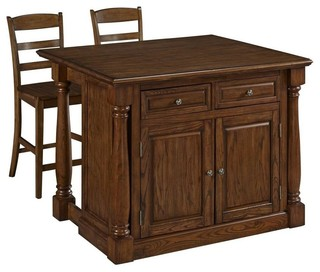 Kitchen Island and 2 Stools Oak