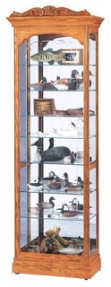 Cumberland Mirrored Back Curio Cabinet Golden Oak