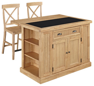 Nantucket Kitchen Island With Granite Top and 2 Stools Maple
