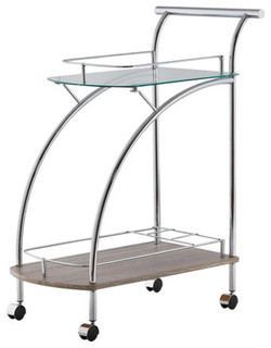 Acme Badin Serving Cart Clear Glass and Chrome