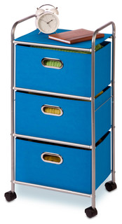 3 Drawer Wheeled Cart Blue