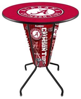 U of Alabama Crimson Tide Script A Lighted Logo Pub Table Black
