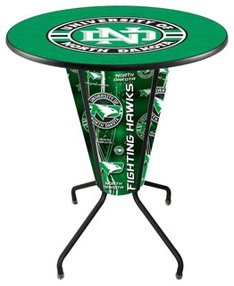 North Dakota Fighting Hawks Lighted Logo Pub Table Black