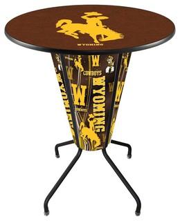 Wyoming Cowboys Lighted Logo Pub Table Black