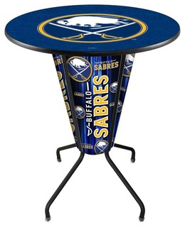 Buffalo Sabres Lighted Logo Pub Table Black