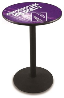 "Northwestern Wildcats Pub Table Black Wrinkle 36""x36"""