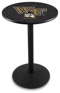 "Wake Forest Demon Deacons Cafe Table With Round Base Black Wrinkle 28""x36"""