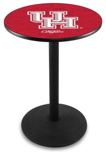 "Houston Cougars Cafe Table With Round Base Black Wrinkle 28""x42"""