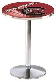 "South Carolina Gamecocks Pub Table Polished Chrome 28""x36"""