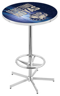 """Georgetown Hoyas Pub Table With Foot Ring Polished Chrome 28"""""""
