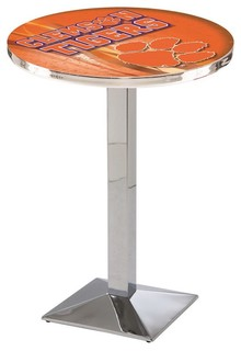 "Clemson Tigers Mid-Century Modern Pub Table Polished Chrome 36""x42"""