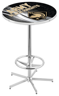 """Army Black Knights Pub Table With Foot Ring Polished Chrome 28"""""""