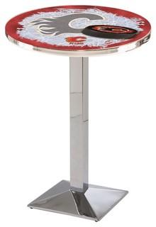 Calgary Flames Mid-Century Modern Pub Table Polished Chrome 36x42