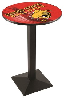 "Ferris State Bulldogs Mid-Century Modern Pub Table Black Wrinkle 28""x42"""