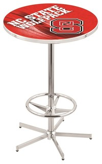 NC State Wolfpack Pub Table With Foot Ring Polished Chrome 36""