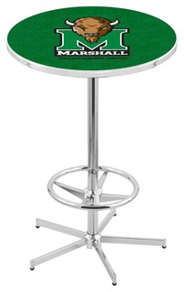 """Marshall Thundering Herd Bar Table With Foot Rest Polished Chrome 28"""""""
