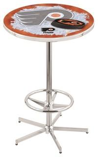 "Philadelphia Flyers Orange Pub Table With Foot Ring Polished Chrome 28"""