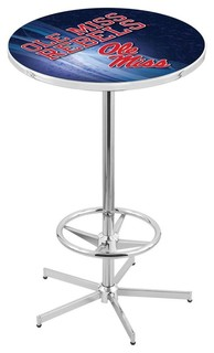 """Ole Miss Rebels Pub Table With Foot Ring Polished Chrome 36"""""""