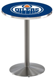 "Edmonton Oilers Cafe Table With Round Base Brushed Stainless 28""x36"""