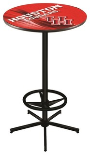 """Houston Cougars Pub Table With Foot Ring Black Wrinkle 36"""""""