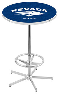 """Nevada Wolf Pack Bar Table With Foot Rest Polished Chrome 36"""""""