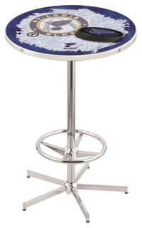 """St. Louis Blues Pub Table With Foot Ring Polished Chrome 36"""""""