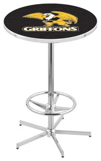 Missouri Western Griffons Bar Table With Foot Rest Polished Chrome 36""