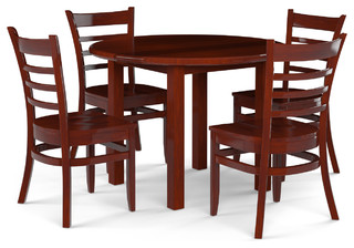 5-Piece Solid Wood Table Dining Set Dark Mahogany Solid Wood Seat