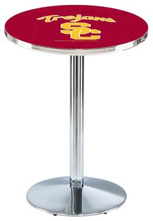 "USC Trojans Cafe Table With Round Base Polished Chrome 28""x42"""