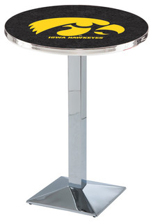 "Modern Iowa Hawkeyes Game Room Table Polished Chrome 36""x36"""