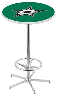 Dallas Stars Bar Table With Foot Rest Polished Chrome 28""