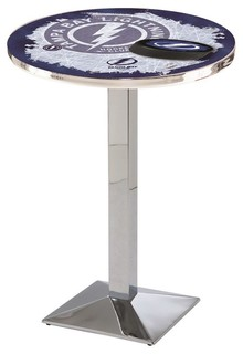 "Tampa Bay Lightning Mid-Century Modern Pub Table Polished Chrome 36""x42"""