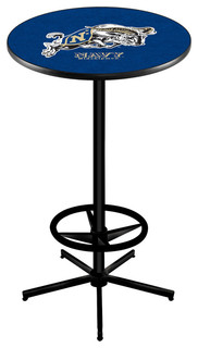 Navy Midshipmen Bar Table With Foot Rest Black Wrinkle 36""