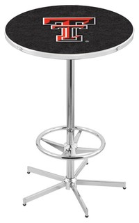 Texas Tech Red Raiders Bar Table With Foot Rest Polished Chrome 36""