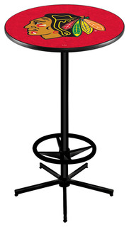 """Chicago Blackhawks Red Bar Table With Foot Rest Black Wrinkle 28"""""""